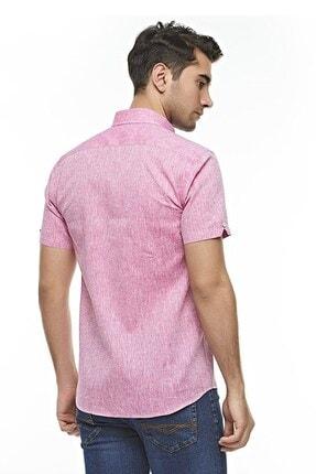 Otto Moda Kısa Kollu Keten Gömlek Pink 3