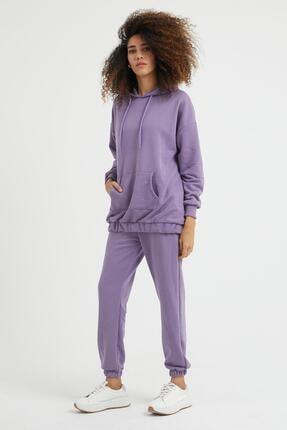 Giyinsende Kadın Mor Kanguru Cep Eşofman Takımı 1