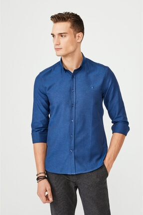 Avva Erkek Lacivert Oxford Düğmeli Yaka Slim Fit Gömlek E002000 0