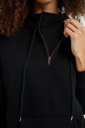 Giyinsende Kadın Siyah Fermuarlı Kanguru Cep Eşofman Takımı 2