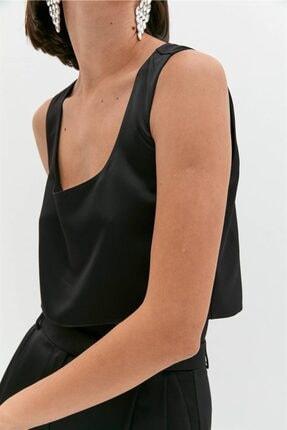 Rue Siyah Saten Crop Bluz 0