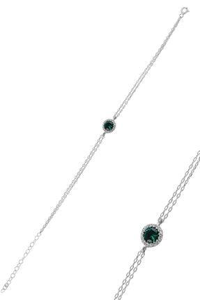Söğütlü Silver Gümüş Rodyumlu Kök Zümrüt Taşlı Pırlanta Montürlu Bileklik 0