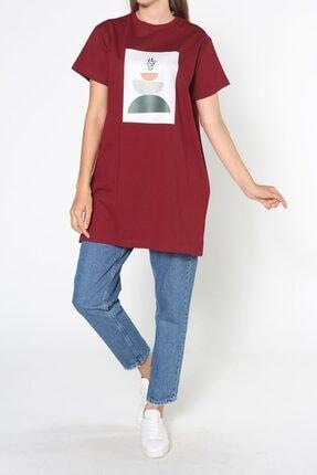 ALLDAY Bordo Baskılı Kısa Kol T-shirt 1