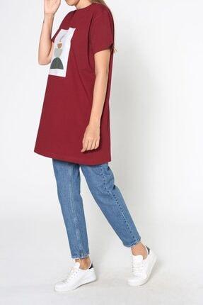 ALLDAY Bordo Baskılı Kısa Kol T-shirt 4