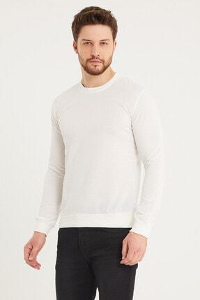 Densmood Pamuklu Bisiklet Yaka Beyaz Sweatshirt 1
