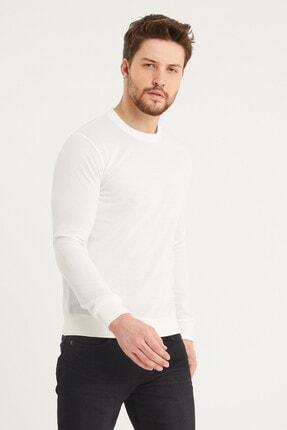 Densmood Pamuklu Bisiklet Yaka Beyaz Sweatshirt 2
