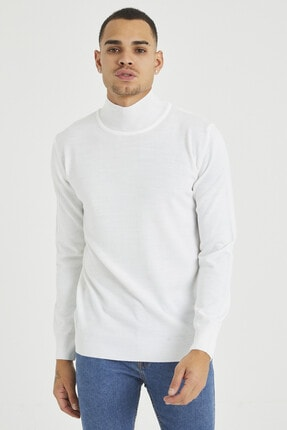 Tarz Cool Erkek Beyaz Erkek Beyaz Yarım Boğazlı Triko Kazak 1