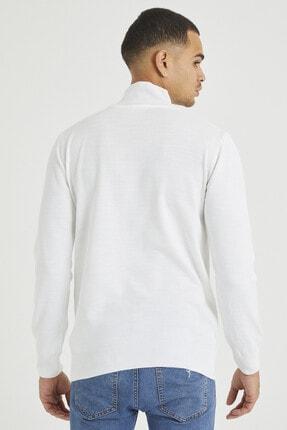 Tarz Cool Erkek Beyaz Erkek Beyaz Yarım Boğazlı Triko Kazak 4