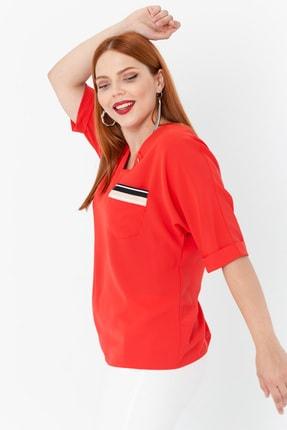 Lafaba Kadın Kırmızı Fakir Kollu Büyük Beden Cepli Bluz 1