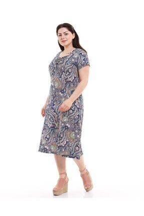 Dükkan Moda Kadın Büyük Beden Elbise Büzgülü Yaka Şal Desenli 3