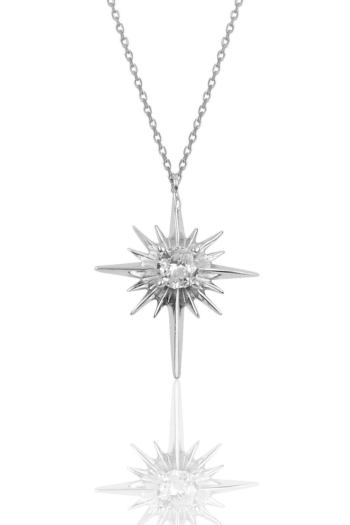 Gümüş Kutup Yıldızı Modeli Kolye Sgtl10077