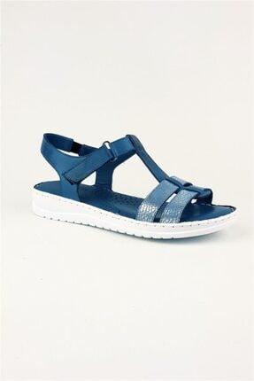Deripabuc Hakiki Deri Kot Mavi Kadın Deri Sandalet Dp05-s010 1