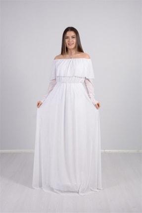 giyimmasalı Tül Üzeri Simli Abiye Elbise - Beyaz 1