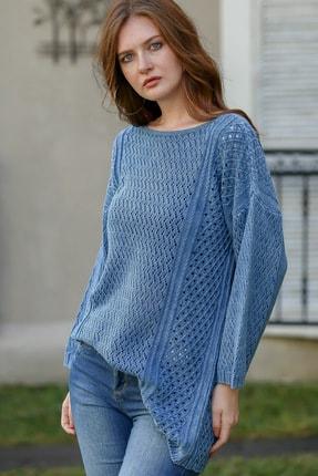 Chiccy Kadın Çivit Mavi Bohem Kayık Yaka Kafes Örgü Triko Yıkamalı Salaş Bluz M10010200bl95980 2