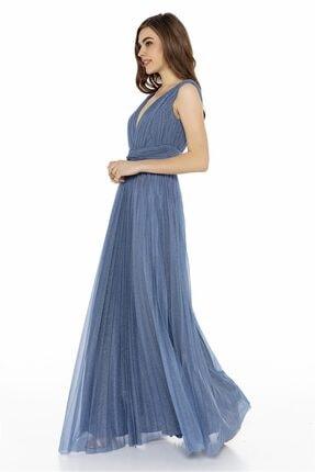 Abiye Sarayı Mavi Bel Detaylı Sırt Dekolteli Tül Elbise 3
