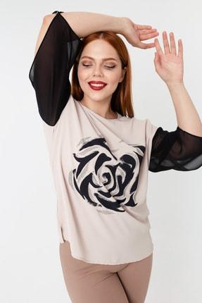 Kadın Bej Büyük Beden Taş Işlemeli Bluz resmi