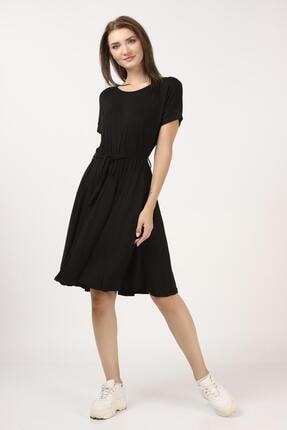 Tena Moda Kadın Siyah Beli Büzgülü Elbise 1