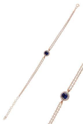 Söğütlü Silver Gümüş Rose Safir Taşlı Elmas Montürlü Bileklik 0