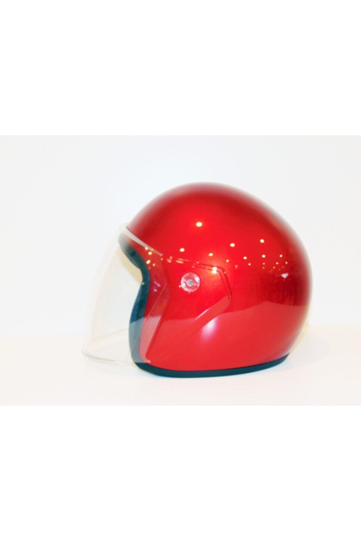 Yarım Motosiklet Kaskı Yüksek Kalite - Standart Beden - Kırmızı