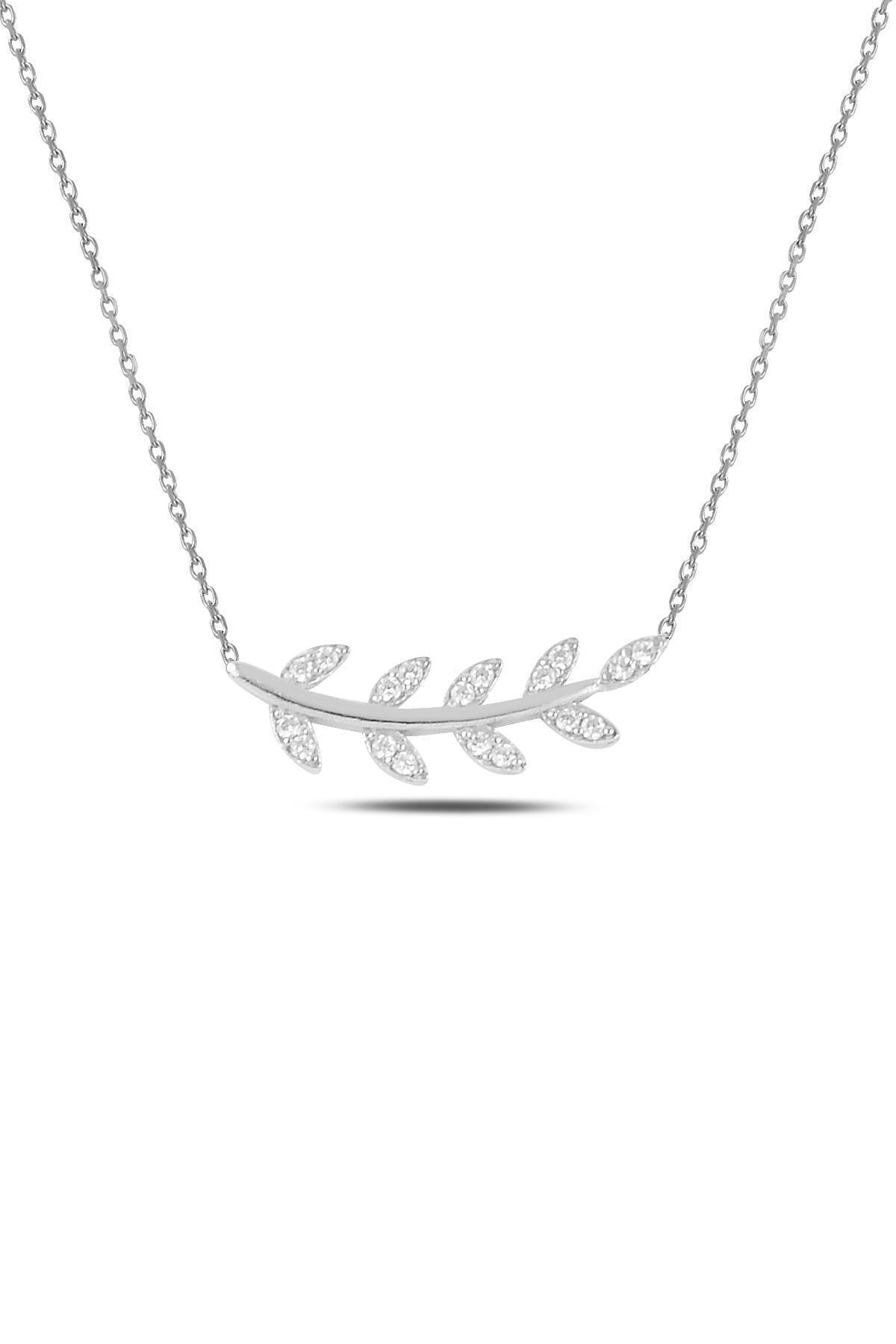 Gümüş Rodyumlu Zirkon Taşlı Yaprak Kolye