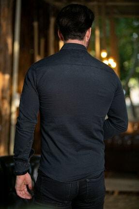 BAYEFENDİ Kot Gömlek Cepli Slim Fit 4