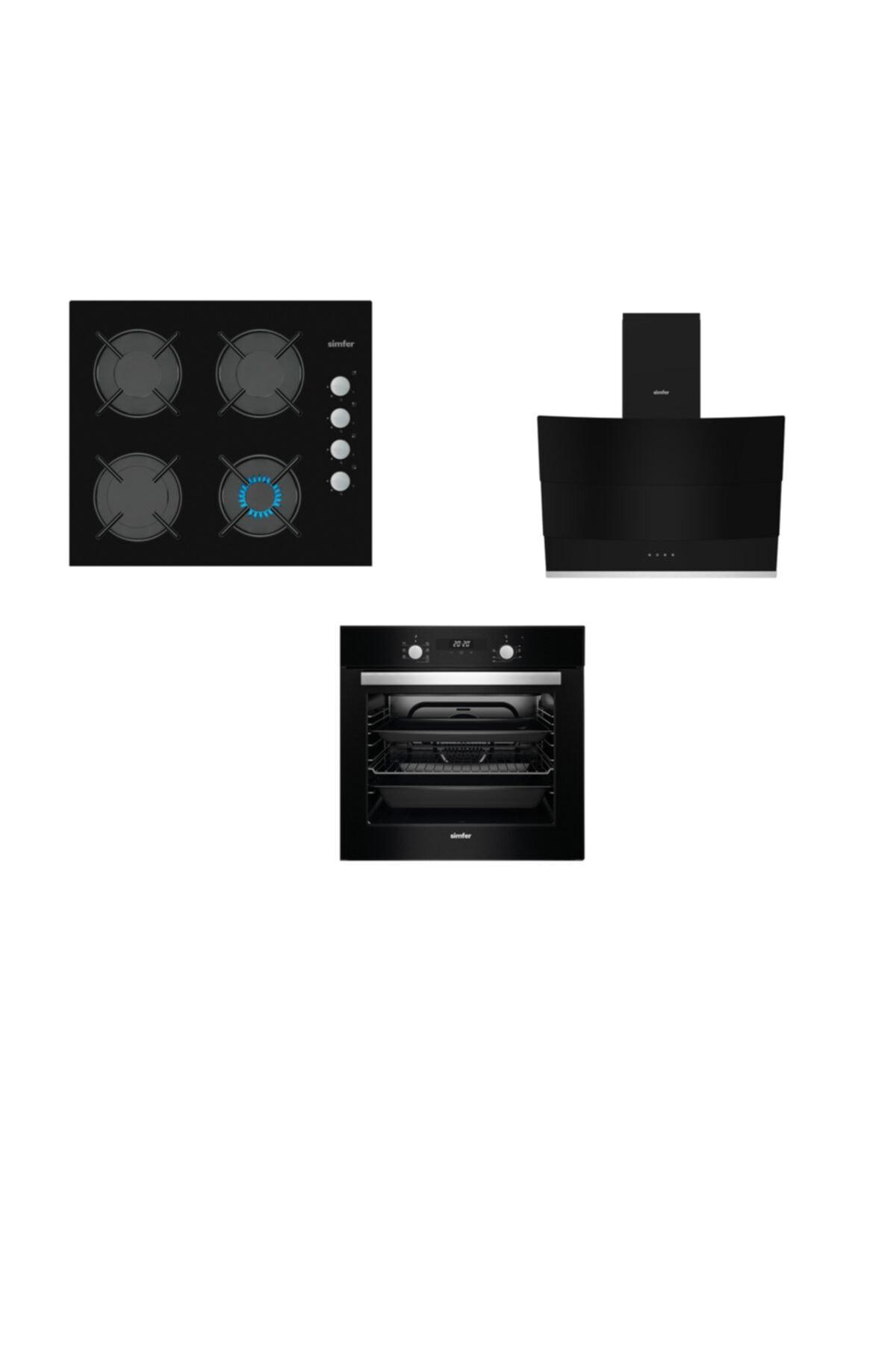 Siyah Dijital 3 Lü Ankastre Cam Set (3500 - 8678 - 7327)