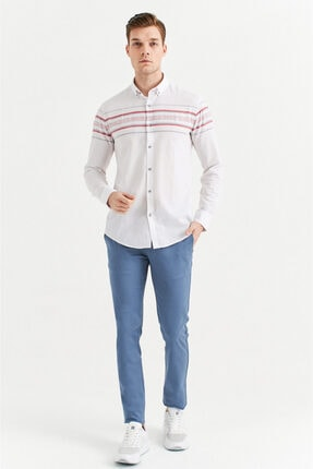 Avva Erkek Açık Mavi Yandan Cepli Basic Slim Fit Pantolon A01y3042 4