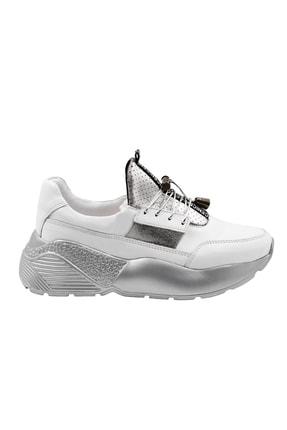 Abbondare Hakiki Deri Beyaz-gri Kadın Spor Ayakkabı-sneaker 1
