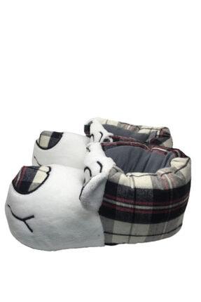 TerlikModasi Unisex Beyaz Gülen Köpek Panduf 1