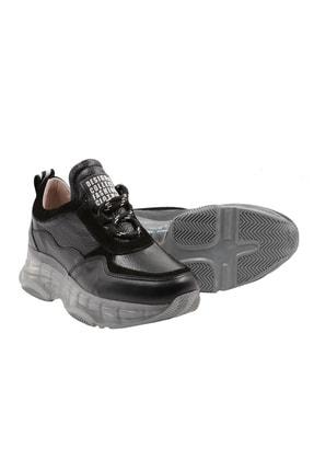 Abbondare Hakiki Deri Siyah Kadın Spor Ayakkabı-sneaker 3