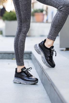 Abbondare Hakiki Deri Siyah Kadın Spor Ayakkabı-sneaker 4