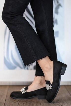 Mio Gusto Matilda Siyah Süet Taşlı Oxford Ayakkabı 0