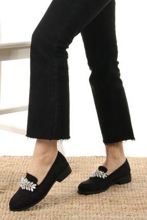 Mio Gusto Matilda Siyah Süet Taşlı Oxford Ayakkabı 3