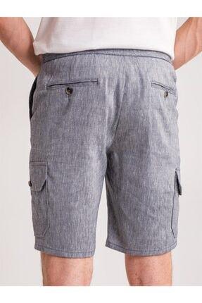 Dufy Lacivert Melanj Ip Detaylı Cepli Keten Karışımlı Erkek Short - Modern Fit 2