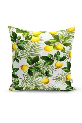Realhomes Limon Ve Tropikal Yaprak Kombinli 4'lü Yastık Kırlent Kılıfı 1