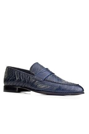 Cabani Örgülü Derili Neolit Enjeksiyon Tabanlı Loafer Erkek Ayakkabı Lacivert Deri 0