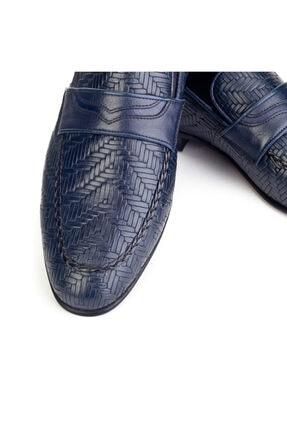 Cabani Örgülü Derili Neolit Enjeksiyon Tabanlı Loafer Erkek Ayakkabı Lacivert Deri 1