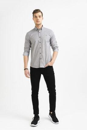 Avva Erkek Gri Baskılı Alttan Britli Yaka Slim Fit Gömlek A92y2233 3