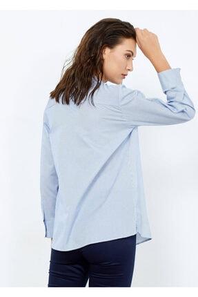 Adze Kadın Mavi Çizgili Cepli Gömlek Mavi Xl 2