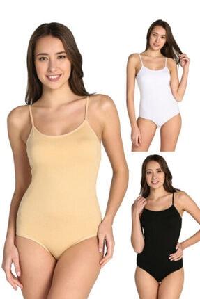 Tutku Kadın Karışık Renk 6'lı Paket Ip Askılı Likralı Kancalı Çıtçıtlı Body Elf568t0148ccm6 1
