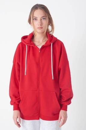 Addax Kadın Kırmızı Kapüşonlu Uzun Hırka H0725 - W6 - W7 ADX-0000020316 2