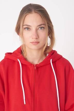 Addax Kadın Kırmızı Kapüşonlu Uzun Hırka H0725 - W6 - W7 ADX-0000020316 3