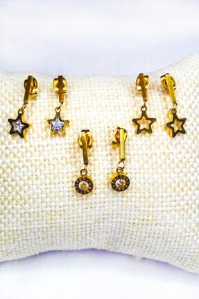 Fashion Jewellery Paslanmaz Çelik Yıldız Figürlü Zirkon Taşlı Altın Küpe Seti 0