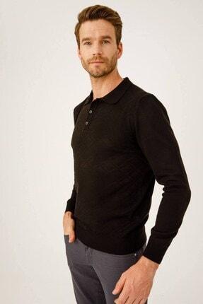 İgs Erkek Siyah Standart Polo Yaka Sweatshirt 1
