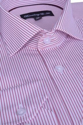 Otto Moda Broadway Uzun Kollu Bordo Çizgili Erkek Gömlek 0