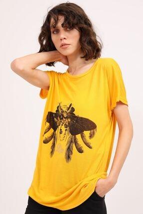 metropol tekstil Krt-061 Desenli Tshirt Hardal 1