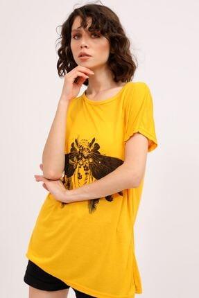 metropol tekstil Krt-061 Desenli Tshirt Hardal 2