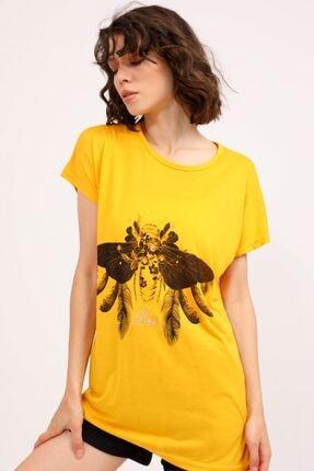 metropol tekstil Krt-061 Desenli Tshirt Hardal 3