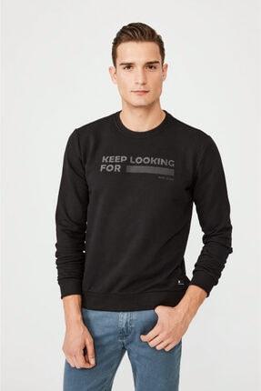 Avva Erkek Siyah Bisiklet Yaka Enjeksiyon Baskılı Sweatshirt A02y1079 0