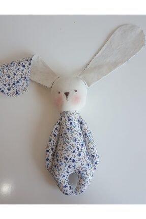 BERLİNA DOLLS Uyku Arkadaşı Mavi Çiçek Desenli Organik Tavşan-boyu:24cm 2